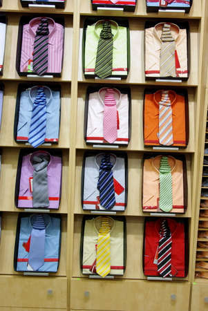 Colorful shirts with necktie in a shop  photo