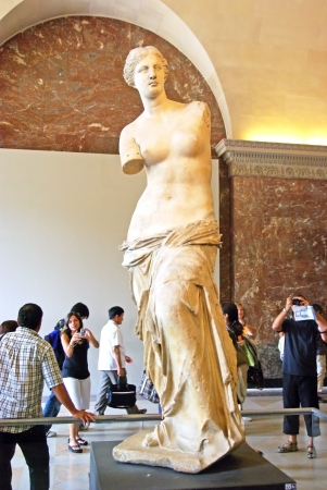 PARIS, FRANCE - August 3  Venus of Milo statue at Louvre Museum on August 3, 2008 in Paris, France