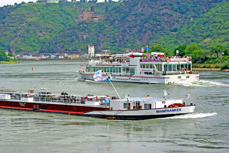 waterway: RHINE, GERMANY - AUGUST 1  Ships on Rhine river, near Loreley Rock on August 1, 2008 in Rhine, Germany