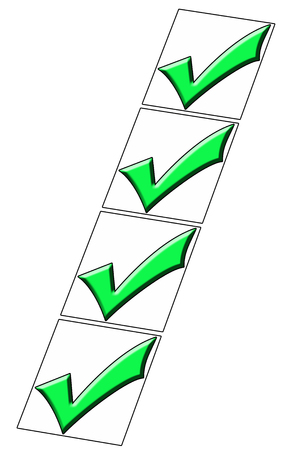 valid: Checked boxes on a white illustration Stock Photo