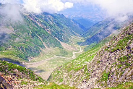 fagaras: Alpine valley with few clouds, Fagaras mountains
