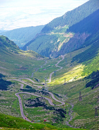 Alpine road through mountains, Transfagarasan road, Romania  photo