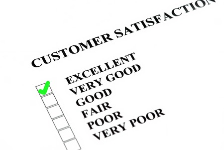 filled out: Customer satisfaction or service survey being filled out Excellent  Stock Photo
