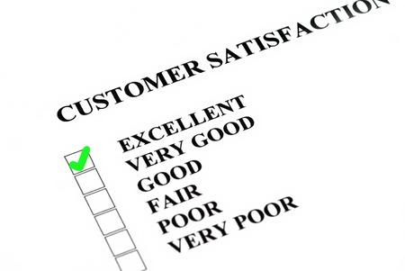questionaire: La satisfacci�n o el servicio al cliente encuesta se rellena Excelente Foto de archivo