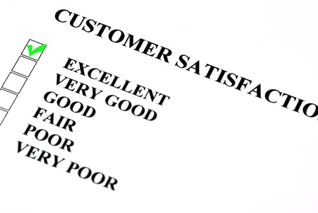 questionaire: Customer satisfaction service form with check boxes  Excellent is checked
