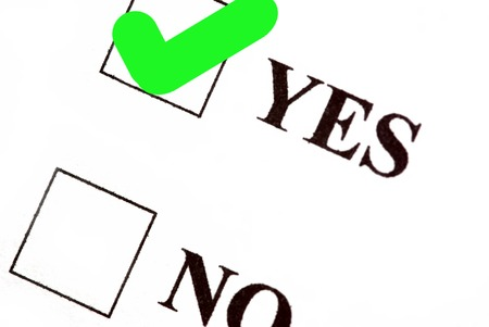 voted: Yes and no boxes, yes voted. Stock Photo