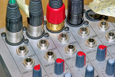 Audio mixer connector, close up image. photo