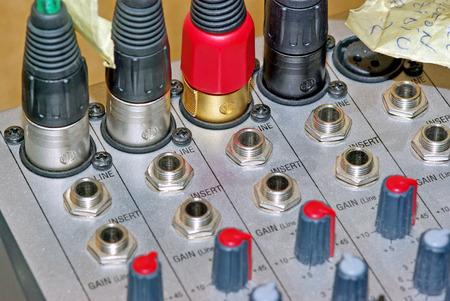 Audio mixer connector, close up image. Stock Photo