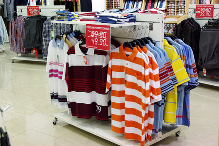 Summer clothes with discount in a shop  Stock Photo