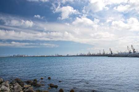horrizon: Shipyard In Constanta with big cranes at the horrizon
