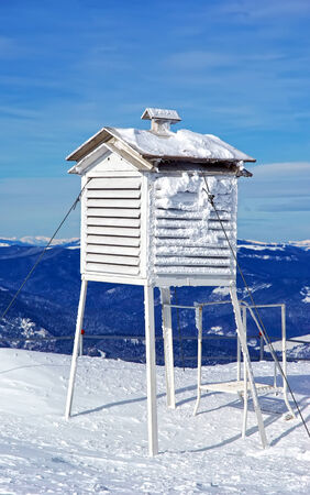 meteorological: Meteorological station, frozen thermometer in winter. Stock Photo