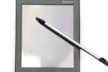 pocket pc: Pocket pc: touch screen display and stylus, close up image.