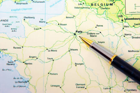 Pen indicating paris city on france map stock photo picture and ballpoint pen on france map showing paris photo gumiabroncs Choice Image