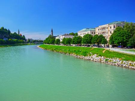 green river: Green river Salzach in Salzburg, Austria.