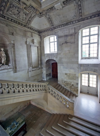 Beautiful staircase in the Castle of Blois.