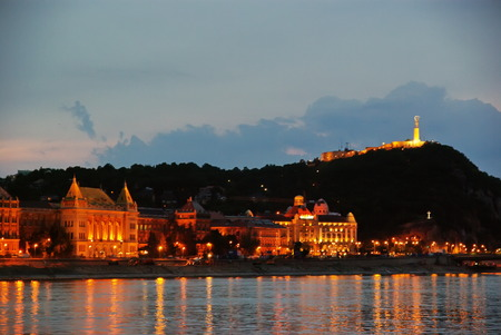 Night in Budapest, Gellert Hill and Danube river photo