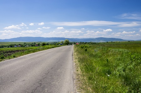 Road on meadow and mountain panorama
