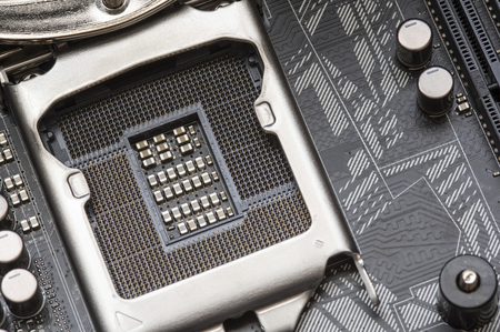 motherboard: CPU motherboard socket, empty place Stock Photo