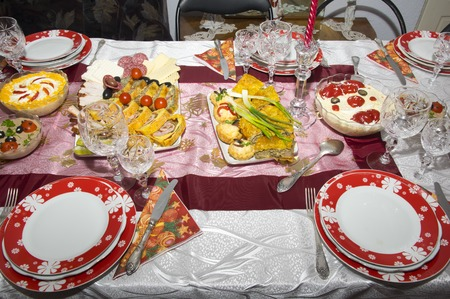 romanian: Romanian traditional food for Christmas on table Stock Photo