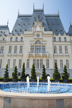 nearly: Neogothic style Palace of Culture in Iasi and nearly fountain Editorial