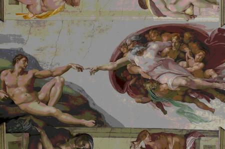 ROME, ITALIË - MAART 08: Adam-schepping in Sixtijnse kapel op 8 maart 2011 in Rome, Italië Redactioneel