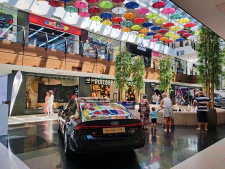 BACAU, ROMANIA - AUGUST 5, 2018: New Audi A7 SB quattro exposed in Audi Center showroom, Arena Mall Bacau