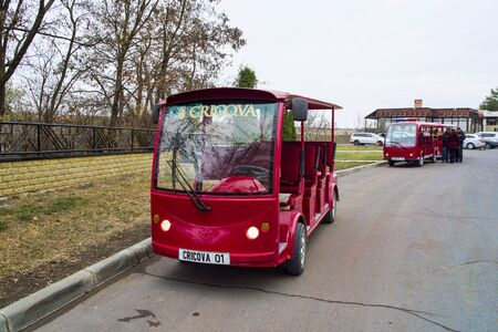 CRICOVA, MOLDOVA - NOVEMBER 13, 2018: Small electric minibuses for tourists at Cricova Winery. Cricova winery is a popular touristic attraction for his famous wine cellars. It has 120 kilometers of labyrinthine roadways in the underground.