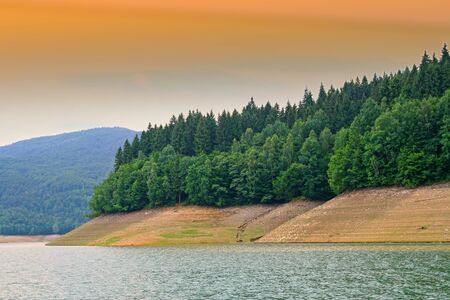 Low level of water on Bicaz Lake, summer forest on coast. Stockfoto