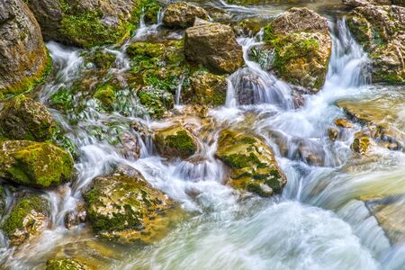 Spring water mountain river in summer, Romanian Carpathians landscape.