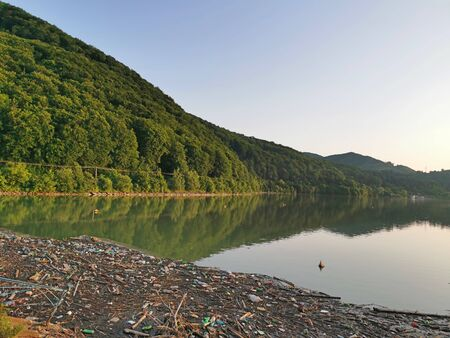 Polluted forest lake, trash and plastic bottles on water surface, ecological disaster