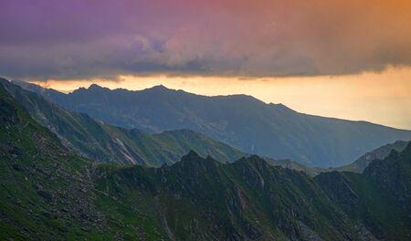 Fagaras mountain summer crest at sunset in Romania Archivio Fotografico - 129469160