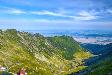 Glacier valley of Balea and Transfagarasan road, important landmark in Romania Archivio Fotografico - 129468801