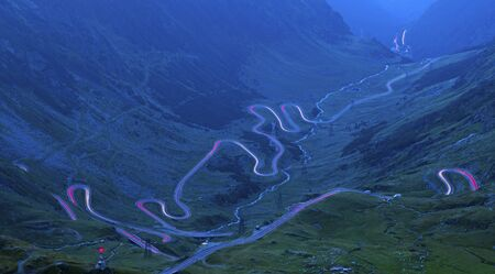 Winding curvy road viewed from above, Transfagarasan road in Romanian Carpathians 写真素材