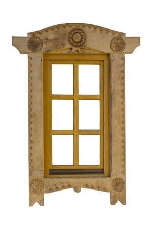 Beautiful wooden window sculpture isolated on white Stock Photo