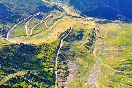 Above view of summer road on rocky mountain, Transfagarasan road in Romanian Carpathians