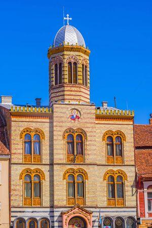 Silver tower cupola of a orthodox church in Brasov, Romania