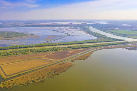 Up view of Danube Delta, summer scene of water canals and ponds, Unesco Heritage Site Stok Fotoğraf