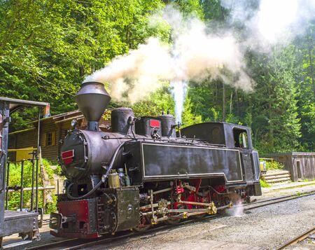 Aged steam engine locomotive working in summer forest