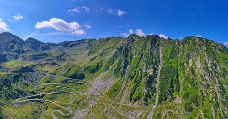 Aerial view of winding road in Romanian Carpathians, summer view of Transfagarasan road in Romania Stock fotó - 133252173