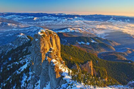 Mountain panorama from the top in winter, aerial landscape in Romanian Carpathians. Stock fotó