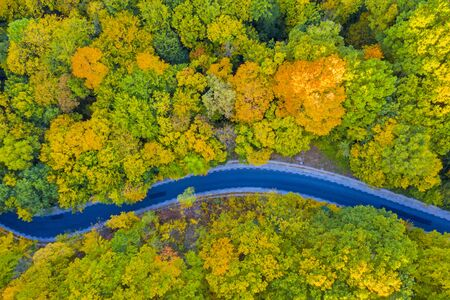 Aerial view of the road in fall forest, autumn travel Banque d'images