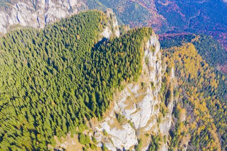Rock mountain and autumn forest trees viewed from above in Romanian Carpathians.