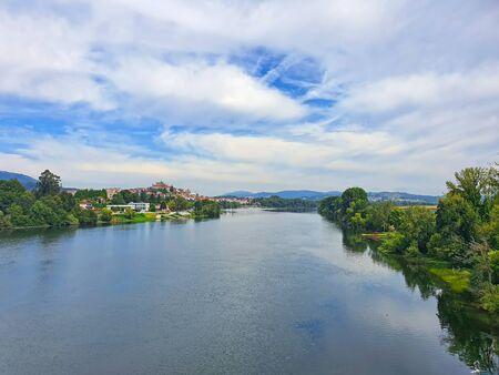 Summer landscape from Minho river, international bridge between Spain and Portugal Stock Photo