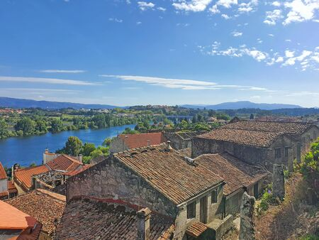 Minho river and Tui village. Tui river is a natural border between Portugal and Spain