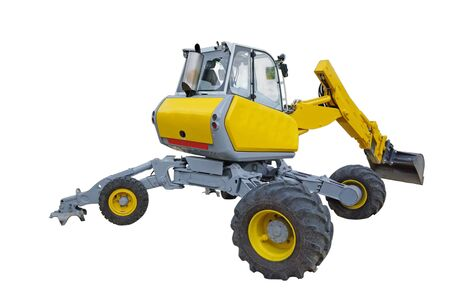 Yellow excavator wit rotating cabin over white