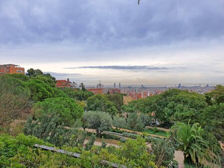 Green Park Guell and Barcelona skyline from the hill