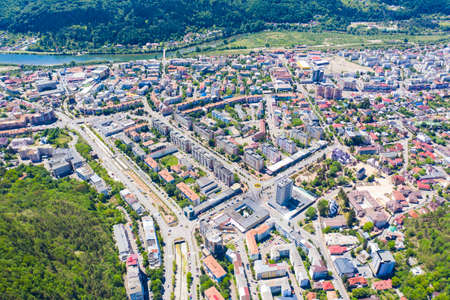 Summer cityscape from above in Romania, aerial view of Piatra Neamt city