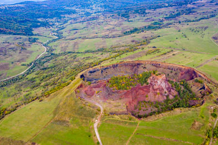 Aerial view of sleeping crater in Romania. Volcanic activity took place in Romanian Carpathians, this happening 10,000 years ago.