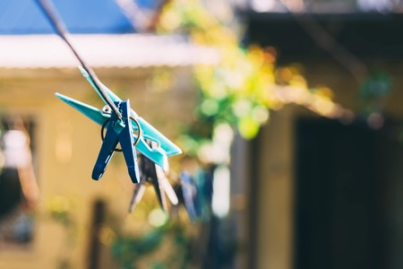 Clothes pegs on the washing line on the backyard