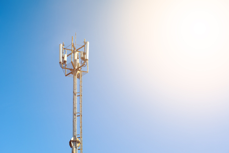 Mobile phone Telecommunication Radio antenna Tower. Cell phone tower. Copy space